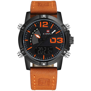 NAVIFORCE Original de buena calidad de los hombres de cuarzo analógico resistente al agua Sport Leather Band LED de múltiples funciones reloj de pulsera 9095