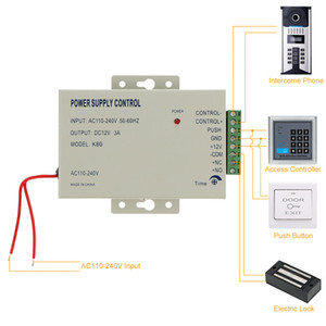 12V 3A Control de acceso Fuente de alimentación Control K80 Switch 110-240V para lector RFID Dispositivo de control de acceso por huella digital