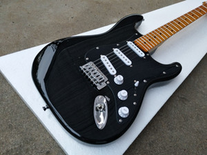 Guitarra Custom Shop David Gilmour Strat Preto ST elétrico 3 Ply All Black Pickguard, Gloss tinta amarela Neck Fingerboard, One Tree Cordas