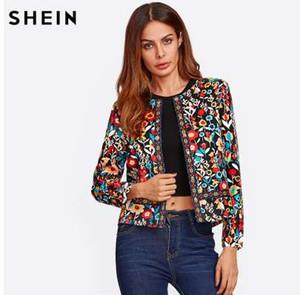 SHEIN пресс кнопка разрез Ботаническая куртка осень Куртка для женщин многоцветный воротника однобортный элегантный куртка