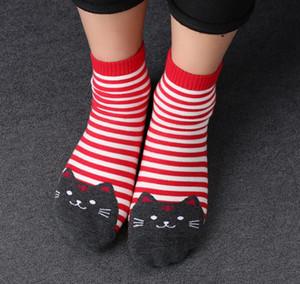 5 пара 3D животных стиль полосатый мода мультфильм носки женщины кошка следы милые хлопчатобумажные носки ног Meias Soks