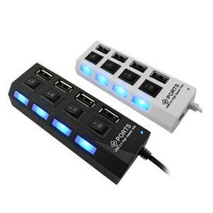 منافذ USB2.0 Hub أربعة منافذ USB ذات 4 منافذ الفاصل مع تبديل منفصل 480Mbps USB2.0 Hight-Speed للكمبيوتر Pc Mac