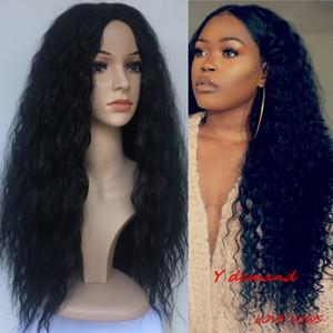Perruque de fête noire longue perruque ondulée synthétique synthétique bouclés naturels complets cheveux perruques couleur noire crépus bouclés vague perruques fibre résistant à la chaleur pour les femmes