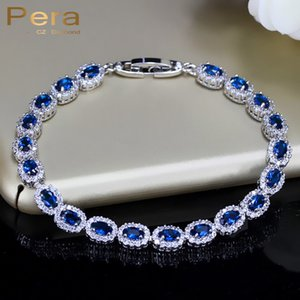 Fashion Women Sterling Silver 925 Jewelry Summer Design Dark Blue Cubic Zirconia Crystal Marquise Bracelet For Mother Day B070 C18111301