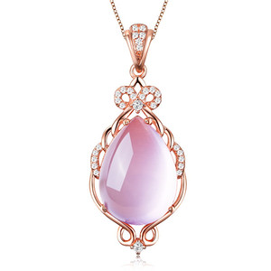 S925 Naturel cristal transparent hibiscus goutte d'eau pendentif en pierre or rose chaîne accessoires clavicule tchèque diamant pendentif pour les femmes