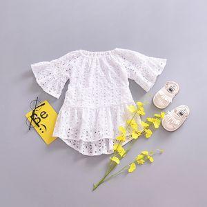 Kids Arrival 2021 Out Girls Kids Short Hollow Collar Summer Round Sleeve Lace Dress NEW Girl White Dress Arfxw
