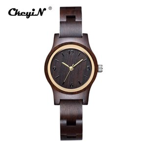 Mujeres de lujo Relojes de Madera Banda de Madera Natural Reloj de Pulsera Mujeres Pequeño Dial Relojes de pulsera de Cuarzo Señoras Reloj de Regalo Creativo 46