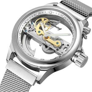 wengle New High grade Single bridge Fully automatic Mesh belt Transparent gift dress casual Mechanical watches