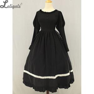 Classic Maid Meillin Black Lolita Dress with White Apron Long Maid Costume de Soufflesong