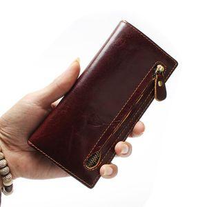 натуральная кожа мужской бумажник недавно двойные RFID блокировки бумажник для мужчин защита коровьей молнии длинный кошелек