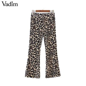 Vadim donne velluto stampa leopardo stampa flare pantaloni modello animale vita alta elastico alla caviglia pantaloni di lunghezza pantalones KA374