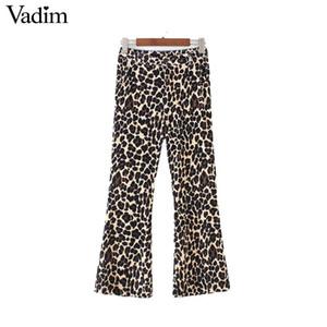 Vadim Frauen Samt Leopard Print Flare Print Hose Tiermuster hohe Taille Stretchy Knöchellänge Hose Pantalones KA374