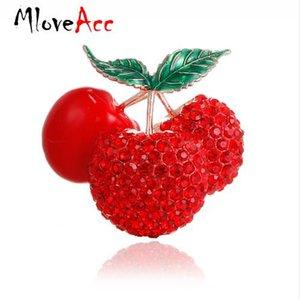 MloveAcc Rouge émail Cherry Broches pour les femmes Strass Cherry Fruits Party Mariages Banquet Broches Cadeaux de nouvel an de l'amant