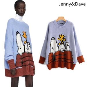 JennyDave 2018 stile inghilterra maglione del fumetto snoopy rivestito regolare nessuno pullover autunno e inverno maglione delle donne 1016 S118