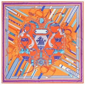 Handmade Praça Orange Silk Xales Womens Foulard Femme Vintage sarja Mulberry Xailes Dropshipping 130 130