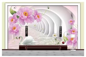 Murales de pared 3D wallpaper foto personalizada mural de pared papel 3D Pink Rose Stereo Channel Swan Lake TV Fondo de pantalla Wallpaper para paredes decoración 3d