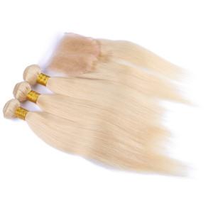 Rubia 613 Cierre de encaje con 3 paquetes 4 unids / lote peruano recto sedoso Virgen Cuerpo humano de cabello Wave 613 Color puro cabello con cierre de encaje