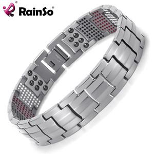 Braccialetto magnetico di salute dell'equilibrio del braccialetto magnetico di salute dei monili di Rainso Braccialetti di titanio d'argento Disegno speciale per il maschio Y1891709
