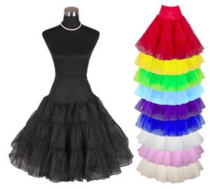 """Дешевые в наличии женщин 50-х годов старинные рокабилли юбка 25"""" длина красочные нижняя юбка пачка тюль юбка для свадебного платья"""