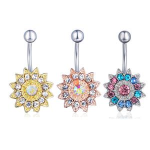 D0691 (4 couleurs) Effacer AB tournesol style de corps piercing anneau bouton nombril jewlery 1,6 * 11 * 5/8 anneau ventre Bijoux de corps