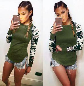 Женщины Army Green Тонкого Tshirts Камуфляж рукав Лоскутной Топы Весна Осень Длинного пассив Женского Топ одежда