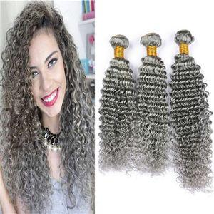 Cheveux gris brésiliens Bundles Deep Wave bouclés armure de cheveux humains 3 Bundles Deals 8A pas cher couleur gris extensions de cheveux vierges