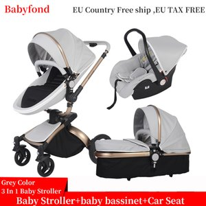 Fast shipping! 3 in 1 baby stroller folding two-way push  high landscape baby carriage with comfortable car seat babyfond