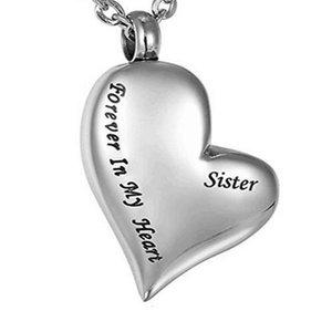 Memoria personalizada al por mayor de huesos de la familia hermana del cabello inclinado en forma de corazón urna collar puede abrir la botella de perfume funeral cremación joyería