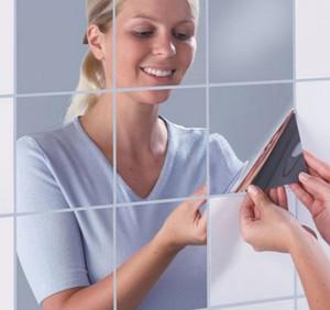 Nueva Llegada de Alta Calidad 15 * 15 cm Cuadrado del Azulejo del Espejo Pegatinas de Pared 3D Decal Mosaico Home Room Decoration DIY Para la Sala de estar Porche b b581