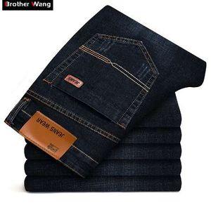 Fratello Wang nuovi uomini di modo Jeans business casual stirata dei pantaloni jeans sottili classici pantaloni in denim Maschio 101