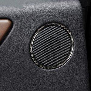 2pcs Carbon Fiber porta do carro de áudio Speaker Círculo tampa da guarnição para Mercedes Benz GLS 2016-18 / ML 2012-15 / 2015-18 GLE / GL 2013-15