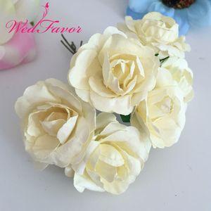 Bouquet di fiori 144pcs 3,5 cm Fiori di carta imitazione di gelso Scrapbooking artificiale Bouquet di rose Ghirlanda Scatola per corpetto Decorazione di cerimonia nuziale