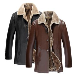 Erkekler Deri Ceket Moda Rahat sıcak Marka Polar Astarlı Motosiklet Bombacı Faux PU Deri Palto Erkek Giyim Kış Ceketler