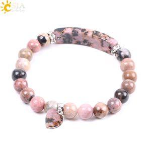 CSJA Sconto gemma naturale Bangle Line Rhodonite Love Heart Fitting Healing Mala Beads Bracciali con pietre rettangolari per gioielli donna F104