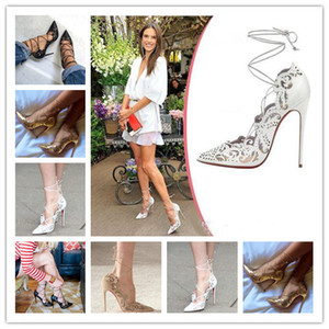 2018 Impera Rihanna Red Bottom Tacchi alti Sexy scarpe a punta Pigalle Cut Out Ankle Strap Donna Pompe Lace Up Cut-Outs Sandali donna