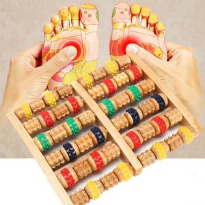6 Righe colorate rullo del piede Roller Fitness stress legno riflessologia per lo stress Piedi di massaggio del Massager di rilievo Massager di cura Ljwpw