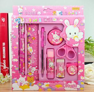 kızlar cetvel silgi Çocuk hediye Ofis Okul Malzemeleri için çocuklar Sevimli kalem durum için Kawaii kırtasiye seti