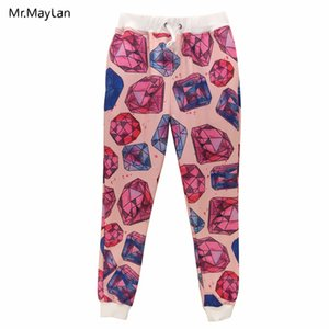 Hipster Pantalon Streetwear 3D Print Red Diamonds Sweatpants Femmes / Hommes Hip Hop Joggers Mode garçons Streetwear rose Pantalon loose