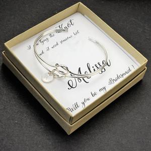 Regalo di gioielli personalizzato Iniziale Knot Bracelet Bridesmaid proposta Will You Be My Bridesmaid Gift bracelet tie the kno