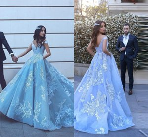 Beautiful Baby Blue Prom Dresses With Lace Appliques Off The Shoulder Floor Length Elegant Formal Quinceanera Gowns DH4158