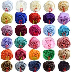 5.5 cm DIY 수제 쉬폰 모란 꽃 8cm 로즈 꽃 인공 새틴은 머리띠 웨딩 장식을위한 아기 소녀 꽃을 로즈