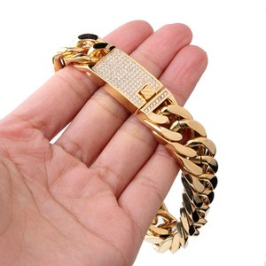 Braccialetti di alta qualità in acciaio inossidabile lucido Curb Cuban Link Uomo Punk Hip Hop catene freddi con diamante chiusura Braccialetto 22 cm * 15mm