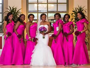 아프리카 웨딩 신부 들러리 드레스 2018 새로운 원 숄더 프릴 바닥 길이 민소매 웨딩 드레스 들러리 드레스 맞춤 제작