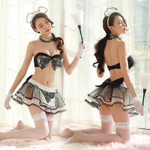 Donne adulte Sexy Costume da cameriera Black Bow Bra Gonna Giochi porno Set Coppie Coppie Ruolo erotico Play Cafe House Servo Uniforme per signore
