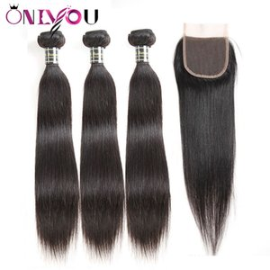 Peruvian Straight Human Hair Extensions 3 Bundles with 4x4 Free Part Lace Closure Remy Hair Cheap Brazilian Virgin Hair Wefts with Closure