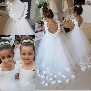 Date 2019 Sweet Sweet Sleeveless Flower Girl Robes Robe en dentelle Appliques A Line Tulle Train Train Filles Robes de Pageant avec perles