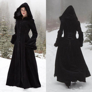 2018 New Fur Hallowmas Hooded Cloaks Winter Wedding Capes Wicca Robe Warm Coats Bride Jacket Christmas Black Events Accessories