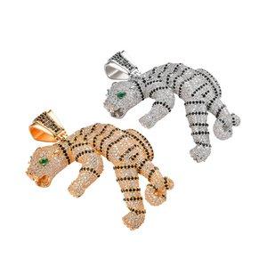 Hip Hop 3D Tiger colgante collar Iced Out Cubic Zircon oro plata plateado ágata ojo regalo de Navidad