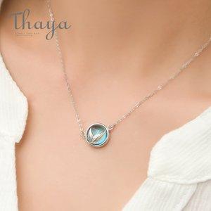 Thaya Русалка пены пузырь дизайн Кристалл ожерелье S925 Серебряный хвост русалки синий кулон ожерелье для женщин элегантный подарок ювелирных изделий Y18102910