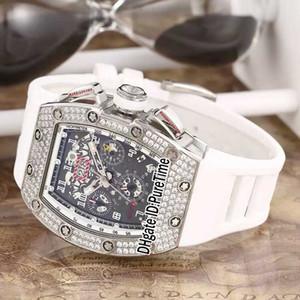Yeni rm011 rm11 flyback chrono elmas çerçeve çelik kasa siyah İskelet dial büyük tarih otomatik erkek izle beyaz kauçuk spor saatler 13b2